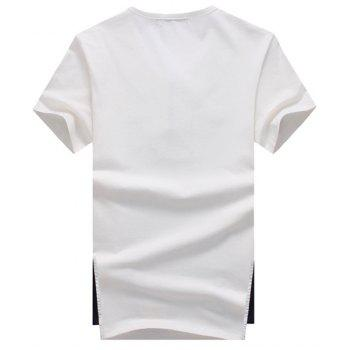 Round Neck Chinese Frog Design Short Sleeve Men's T-Shirt - WHITE L