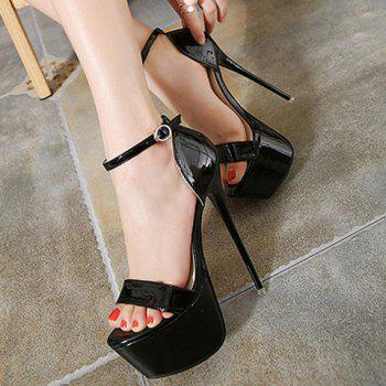 Sexy Super High Heel and Ankle Strap Design Sandals For Women - BLACK 37