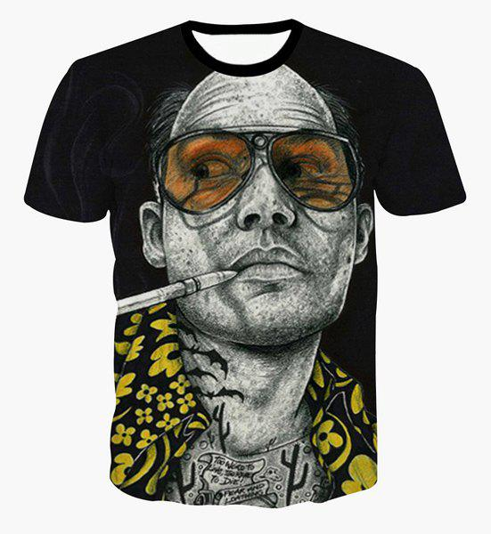 Pullover Fashion Round Collar Bald Man Printed T-Shirt For Men - COLORMIX S