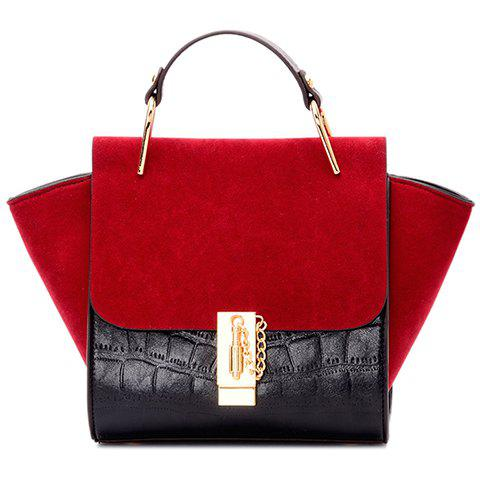 Trendy Splicing and Color Block Design Women's Tote Bag - RED/BLACK
