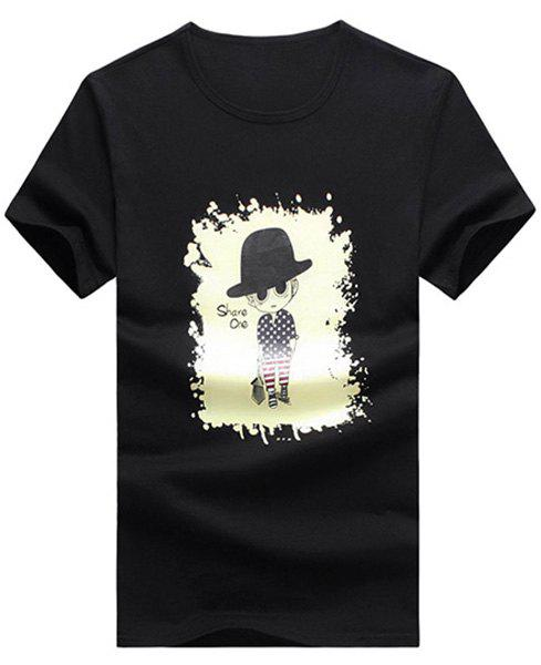 Hat Boy Cartoon Printed Round Neck Short Sleeve Men's T-Shirt - BLACK XL
