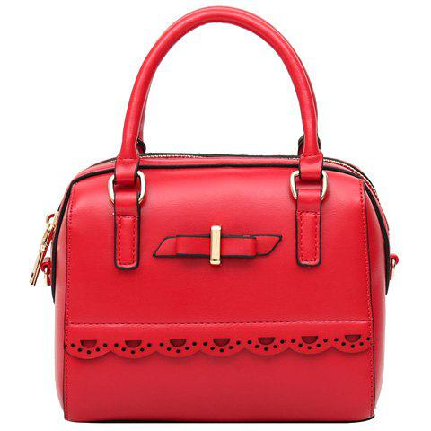 Fashionable Red and Engraving Design Women's Tote Bag - RED