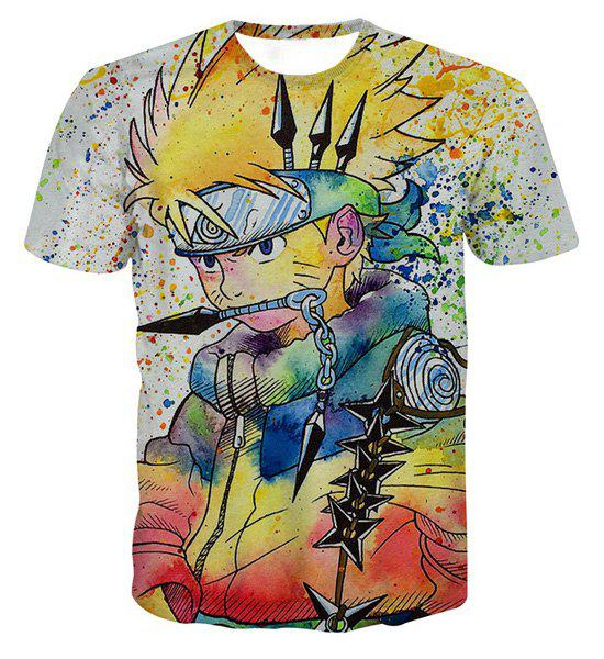 Pullover Fashion Round Collar Painting Cartoon T-Shirt For Men - COLORFUL S