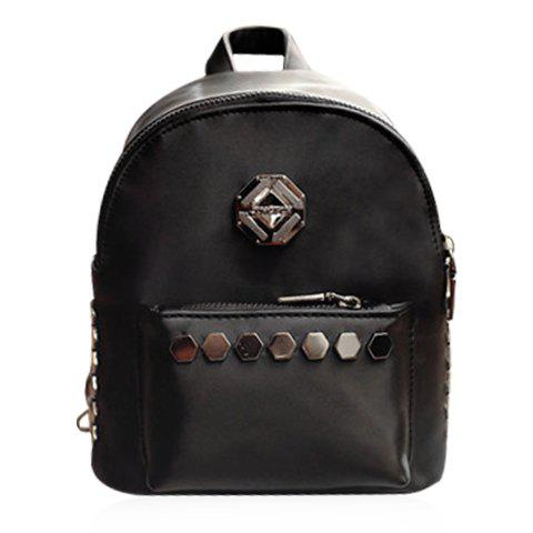 Fashionable Solid Colour and Metal Design Women's Backpack - BLACK