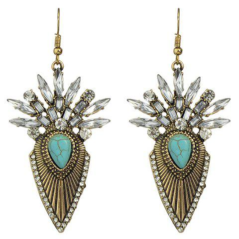 Pair of Water Drop Faux Turquoise Earrings - GOLDEN