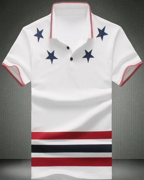 Turn-Down Collar Stars Pattern Stripes Print Short Sleeve Men's Polo T-Shirt - WHITE M