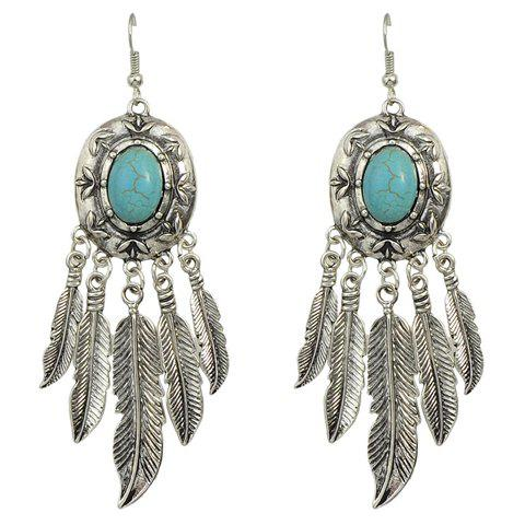 Pair of Trendy Turquoise Feather Tassel Earrings For Women