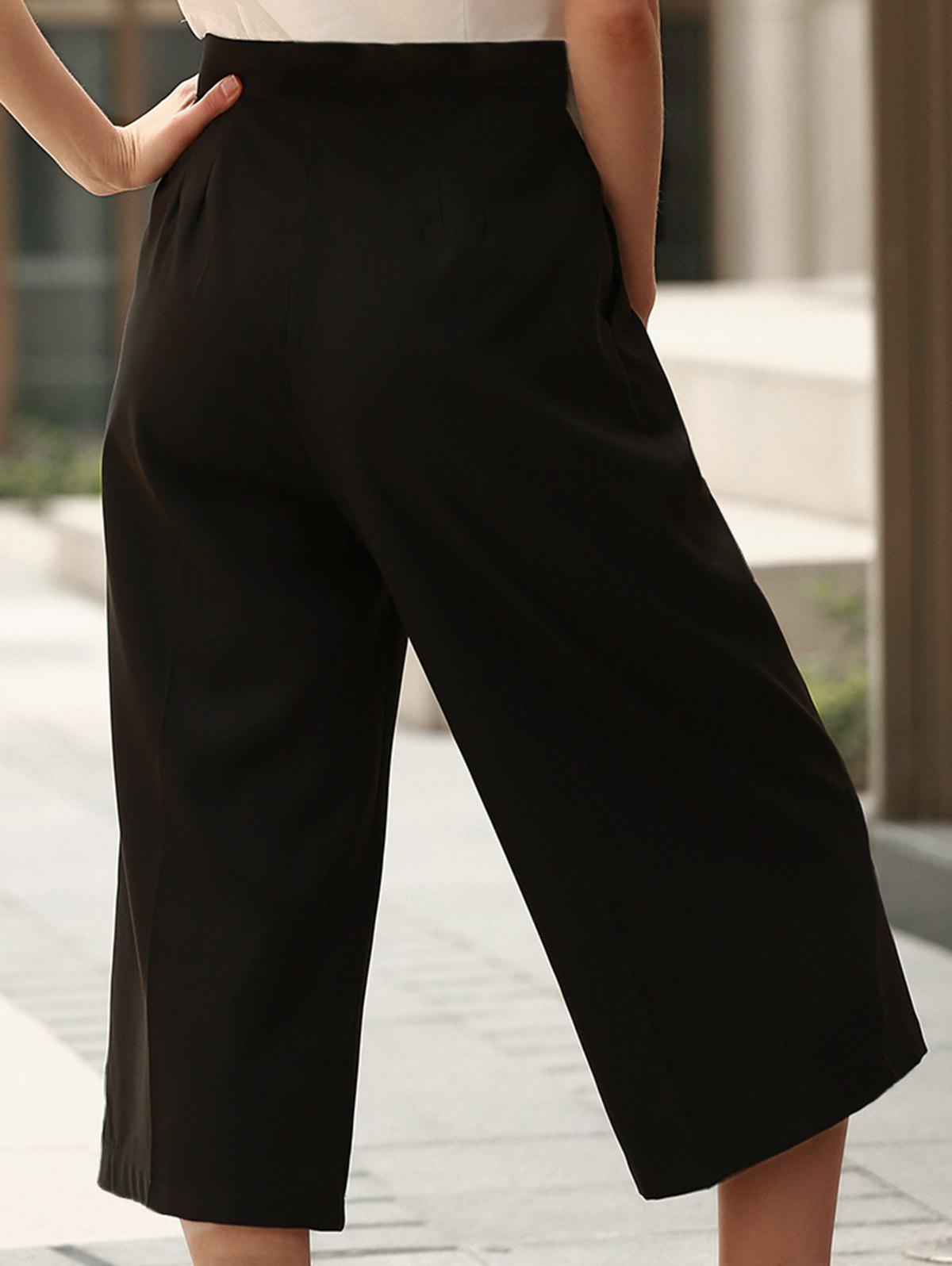Stylish Mid Waist Loose Fitting Black Women's Capri Pants