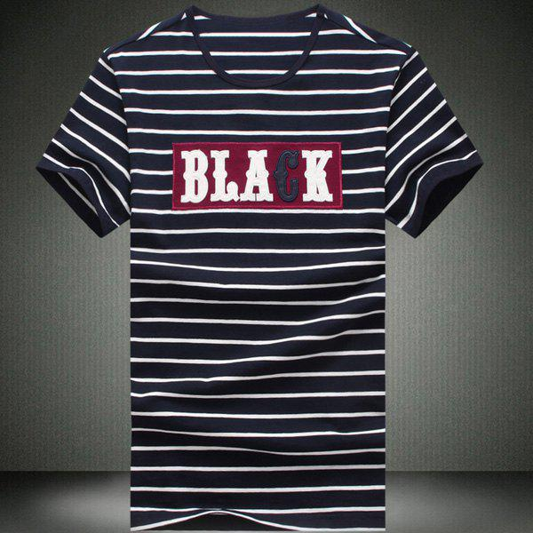 Round Neck Stripes Printed Letters Pattern Short Sleeve Men's T-Shirt
