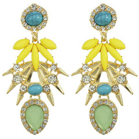 Pair of Trendy Turquoise Decorated Leaf Earrings For Women - YELLOW