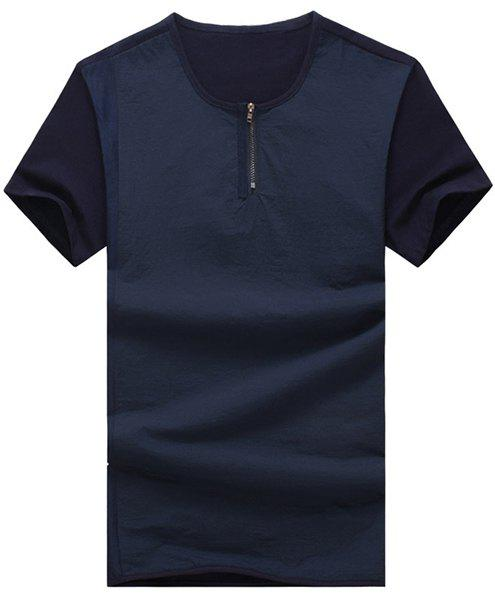 Round Neck Splicing Zipper Design Short Sleeve Men's T-Shirt - CADETBLUE 4XL