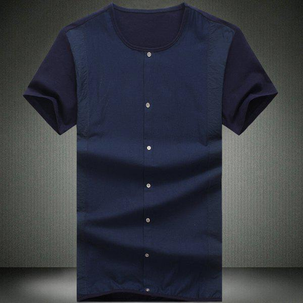 Round Neck Buttons Embellished Short Sleeve Men's T-Shirt