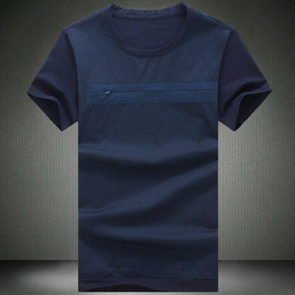 Round Neck Zipper Embellished Solid Color Short Sleeve Men's T-Shirt - CADETBLUE L