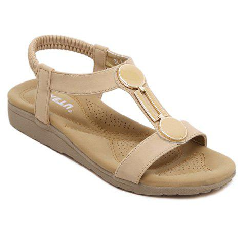 Casual Elastic Band and PU Leather Design Sandals For Women - APRICOT 38