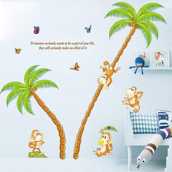 High Quality Monkey and Coconut Tree Pattern Removeable Wall Stickers - COLORMIX