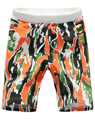 Loose Fit Straight Leg Camo Print Men's Lace-Up Board Shorts - ORANGE XL