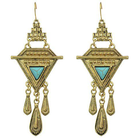 Pair of Triangle Alloy Water Drop Earrings - GOLDEN