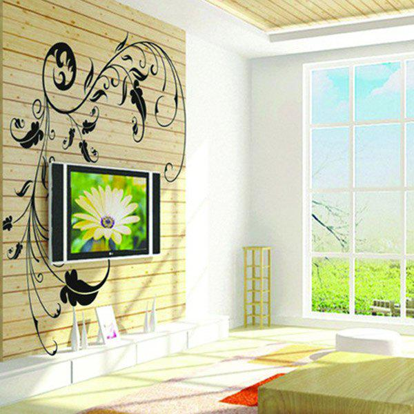 High Quality Black Blossom Pattern Removeable Wall Stickers - BLACK