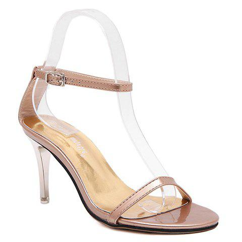 Ladylike Ankle Strap and Stiletto Heel Design Sandals For Women - CHAMPAGNE 37