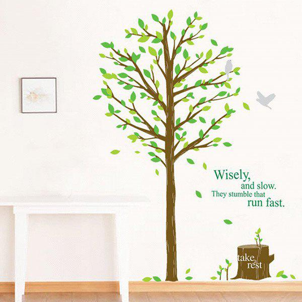 High Quality Green Tree Shape Removeable Wall Stickers - GREEN