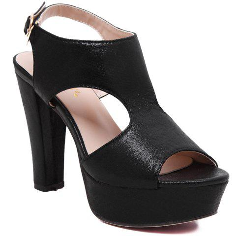 Sweet Chunky Heel and Buckle Strap Design Sandals For Women