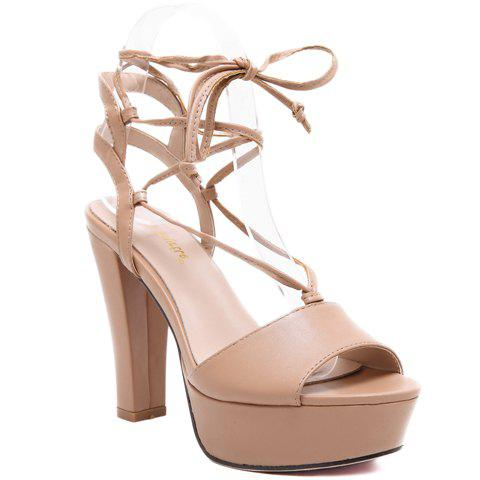 Trendy Tie Up and PU Leather Design Sandals For Women - APRICOT 39