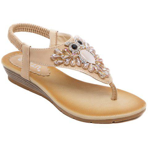 Casual Rhinestones and Flip Flops Design Sandals For Women - APRICOT 36