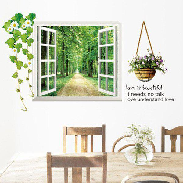 High Quality Tree-Lined Trail Pattern Window Shape Removeable 3D Wall Sticker