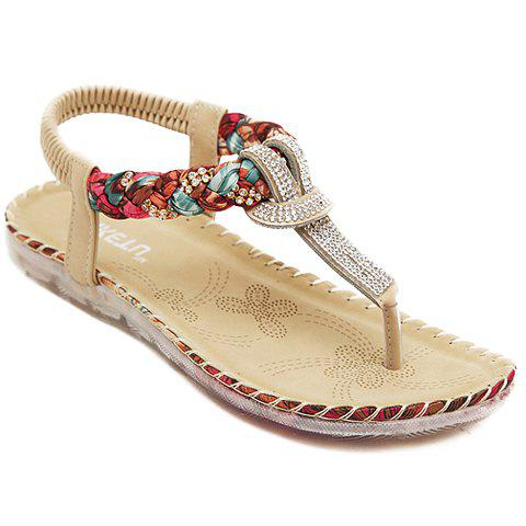 Sweet Elastic Band and Rhinestones Design Sandals For Women - APRICOT 36