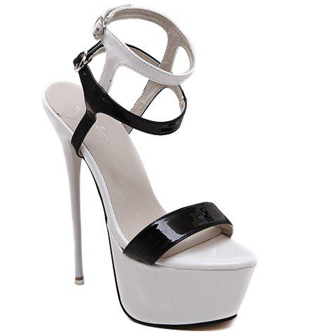 Sexy Super High Heel and PU Leather Design Sandals For Women - WHITE/BLACK 39