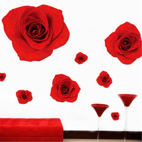 High Quality Red Rose Pattern Removeable Wall Stickers - RED