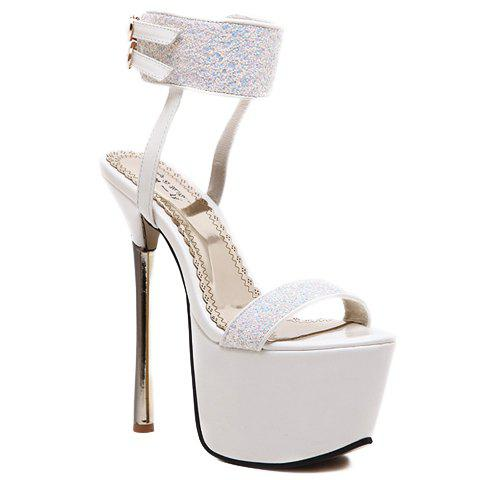 Sexy Sequins and Platform Design Sandals For Women - WHITE 37
