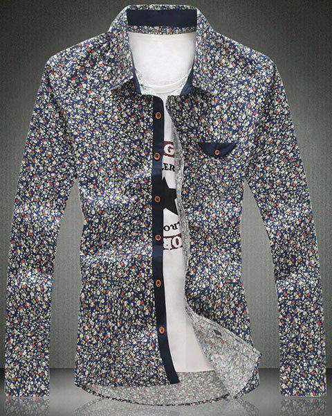 Fashionable Turn-Down Collar Tiny Floral Printed Long Sleeve Men's Shirt