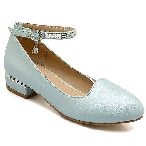 Trendy Rhinestone and Ankle Strap Design Women's Flat Shoes - AZURE 36