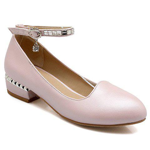 Trendy Rhinestone and Ankle Strap Design Women's Flat Shoes - PINK 36