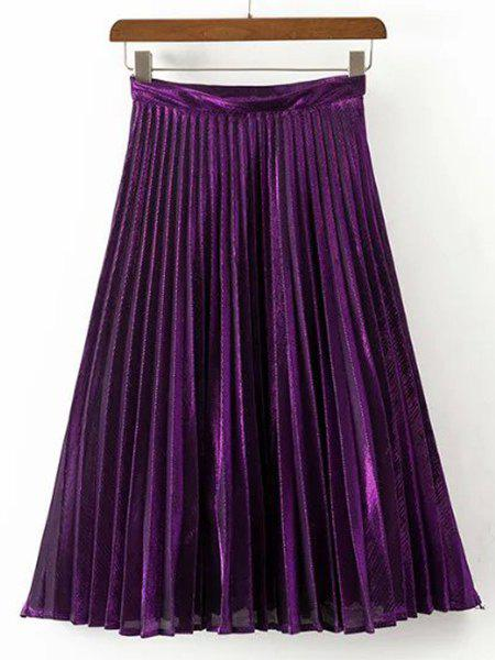 Fashionable Solid Color Pleated Midi Skirt For Women - PURPLE L