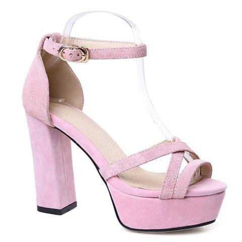 Elegant Suede and Chunky Heeled Design Sandals For Women - PINK 37