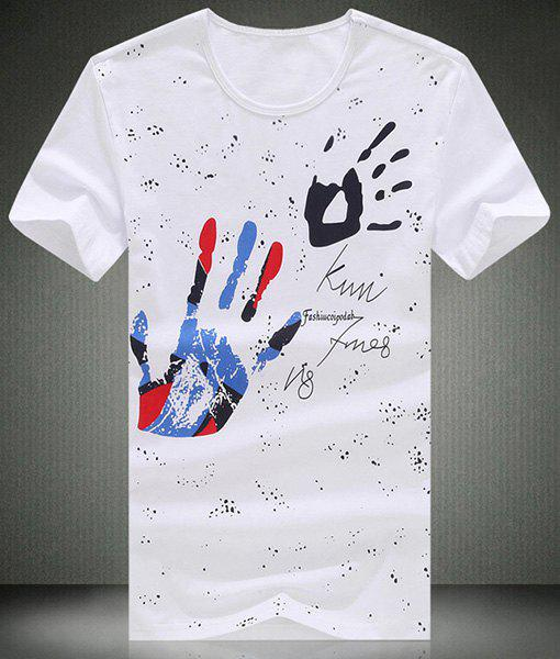 Handprint and Letter Printed Round Neck Short Sleeve Men's T-Shirt - WHITE M