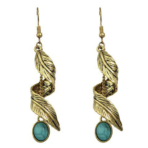 Pair of Leaf Faux Turquoise Drop Earrings - GOLDEN