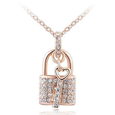 Graceful Rhinestone Lock Key Heart Necklace For Women