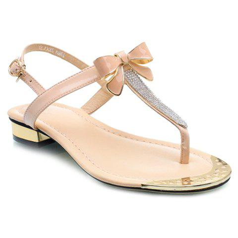 Sweet Bowknot and Rhinestone Design Women's Sandals - PINK 35