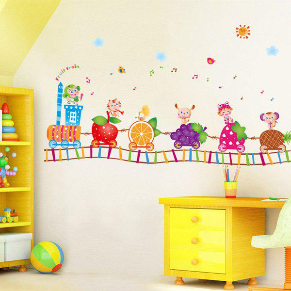 High Quality Colorful Cartoon Fruit Train Pattern Removeable Wall Stickers