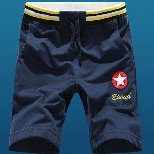 Casual Straight Leg Letters Star Embroidered Drawstring Shorts For Men - CADETBLUE M
