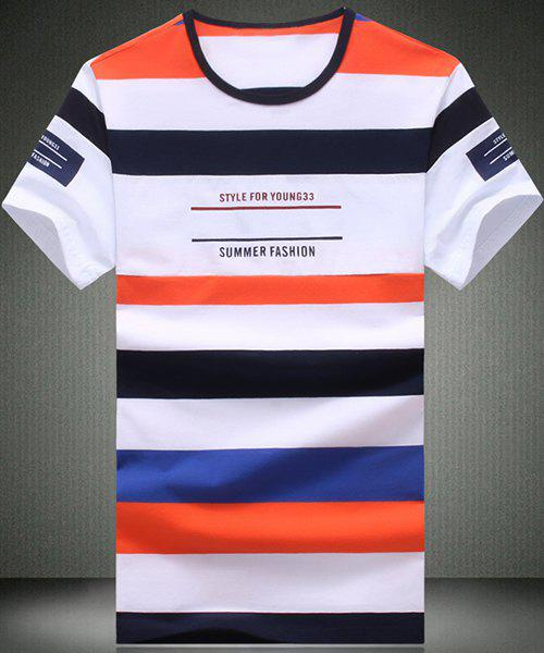 Round Neck Color Block Stripe and Letters Printed Short Sleeve Men's T-Shirt - ORANGE L