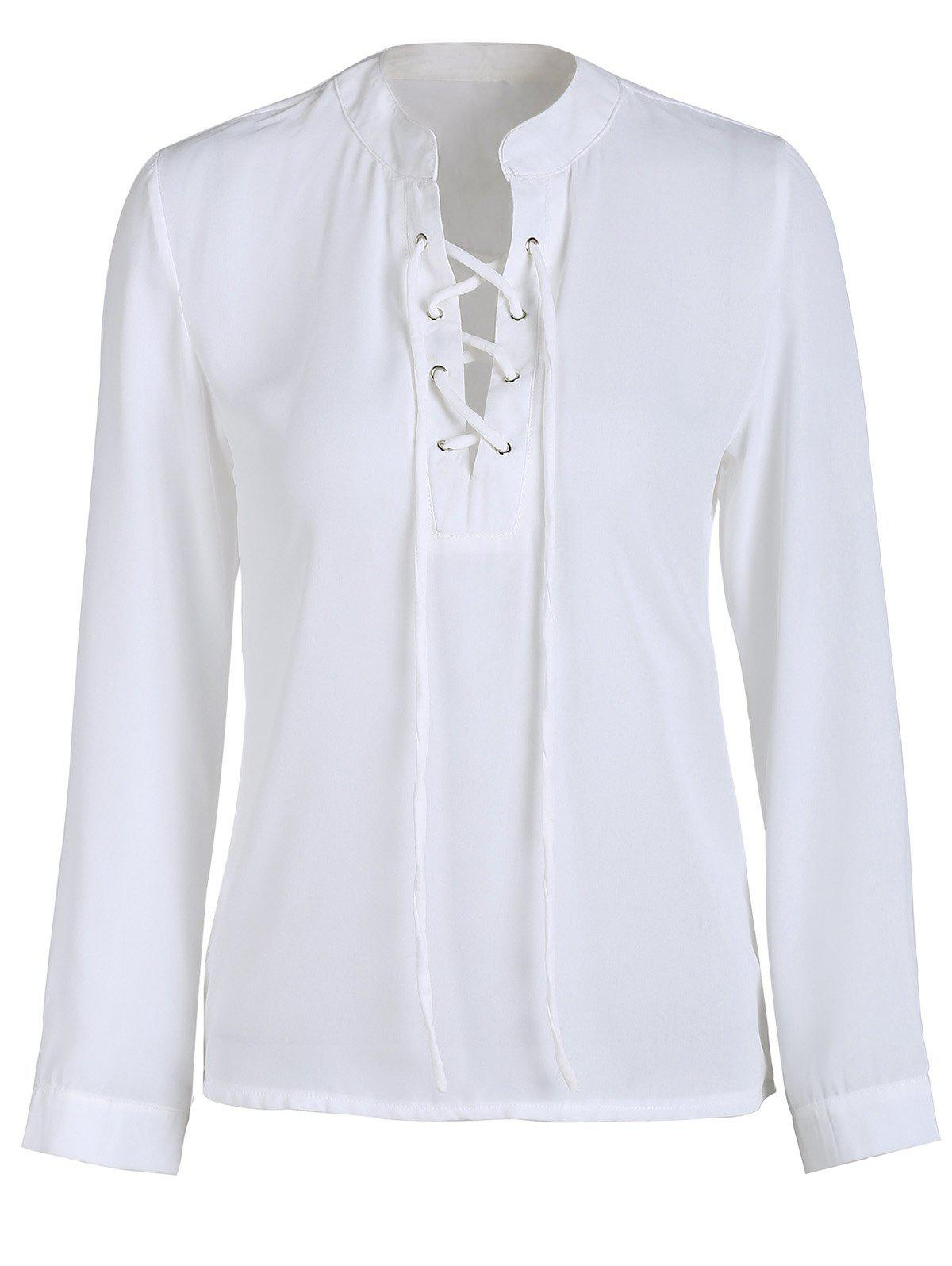 Trendy V-Neck Lace-Up Chiffon Long Sleeve Blouse For Women - WHITE XL