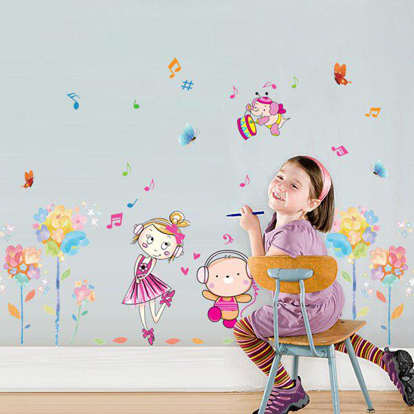High Quality Cartoon Flower and Girl Pattern Removeable Wall Stickers
