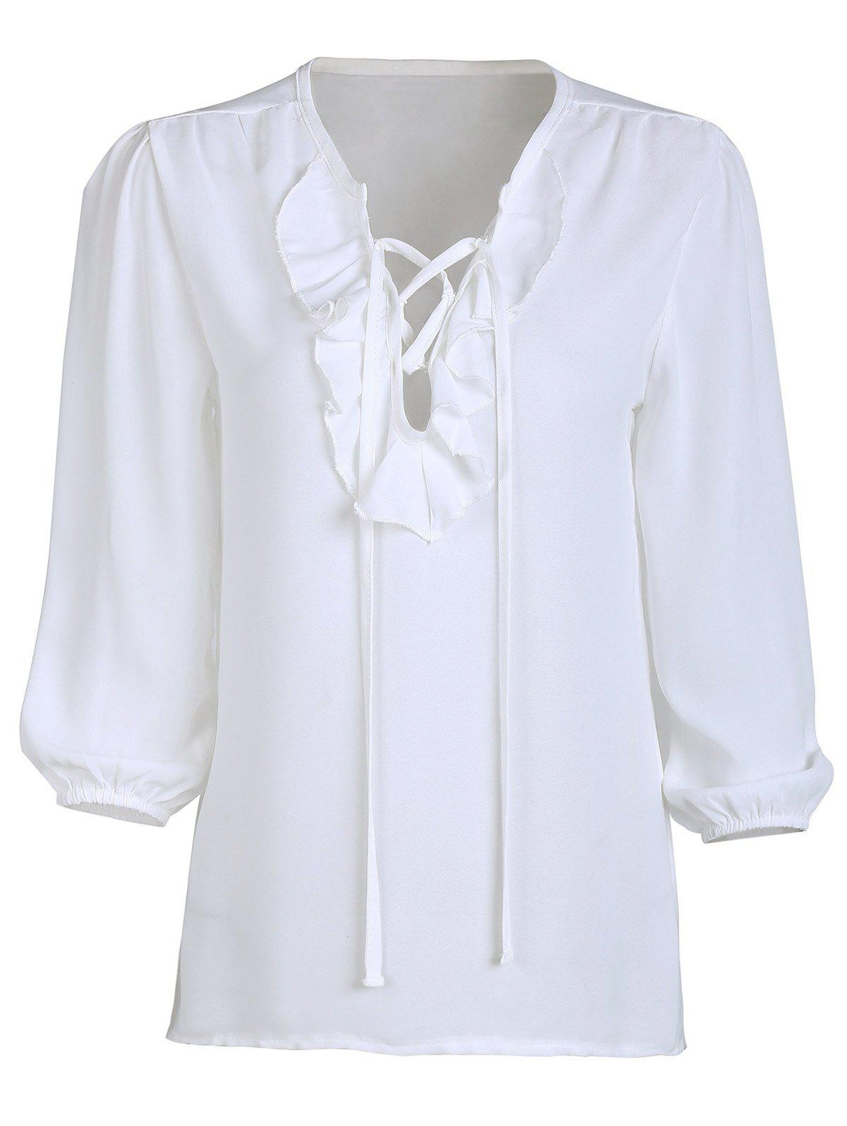Trendy V-Neck Lace-Up Chiffon 3/4 Sleeve Blouse For Women - WHITE M