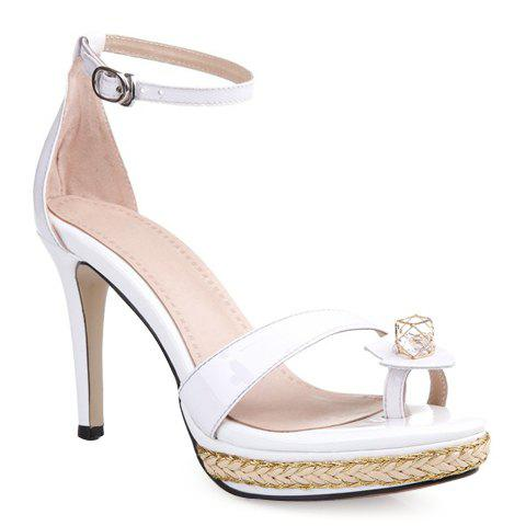 Trendy Patent Leather and Toe Ring Design Sandals For Women - WHITE 38