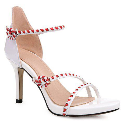 Graceful Buckle and Color Block Design Sandals For Women - WHITE 37