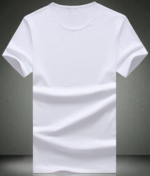 Simple Solid Color Round Neck Short Sleeve Men's T-Shirt - WHITE 2XL